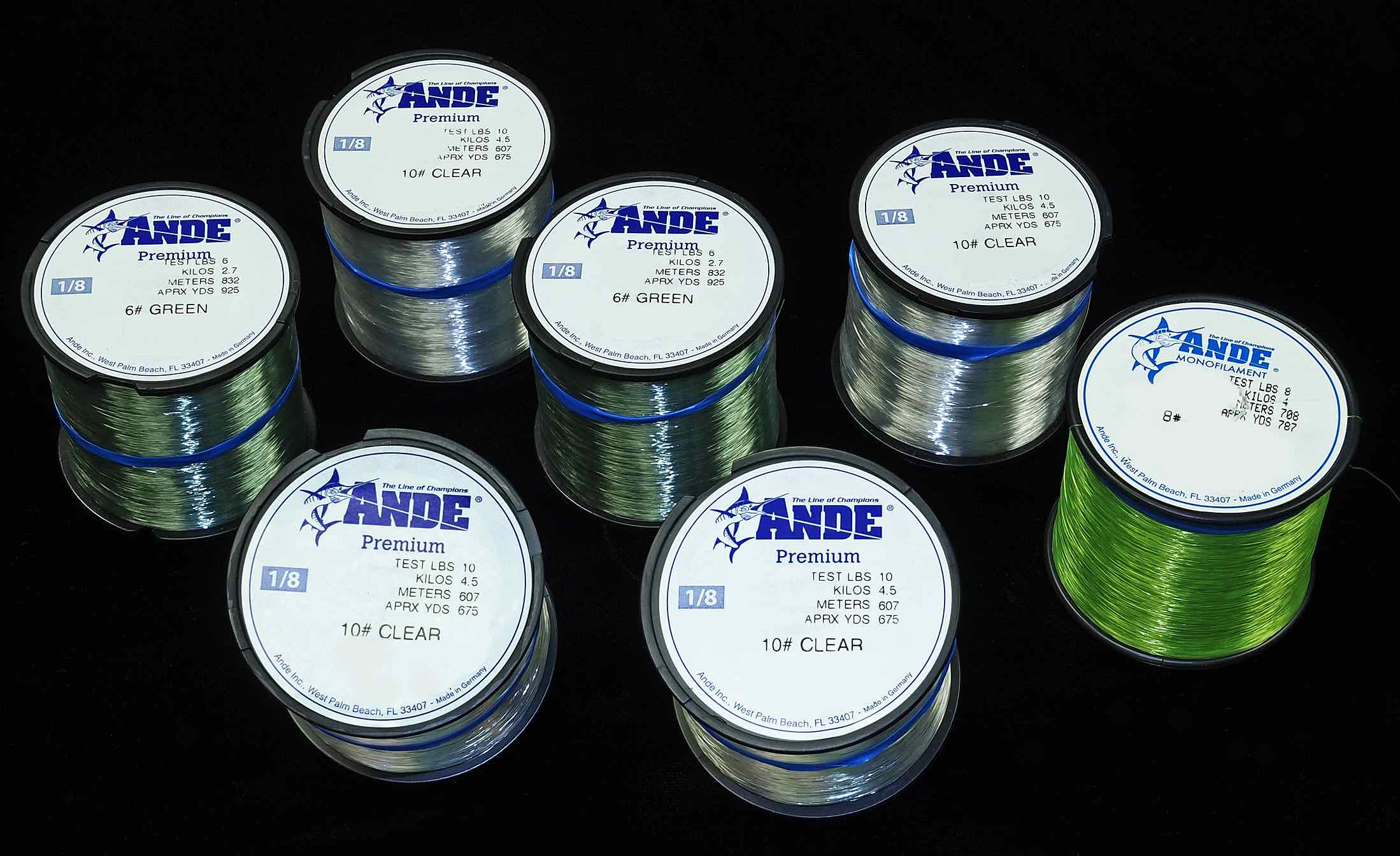 Ande monofilaments and fluorocarbon for Ande fishing line