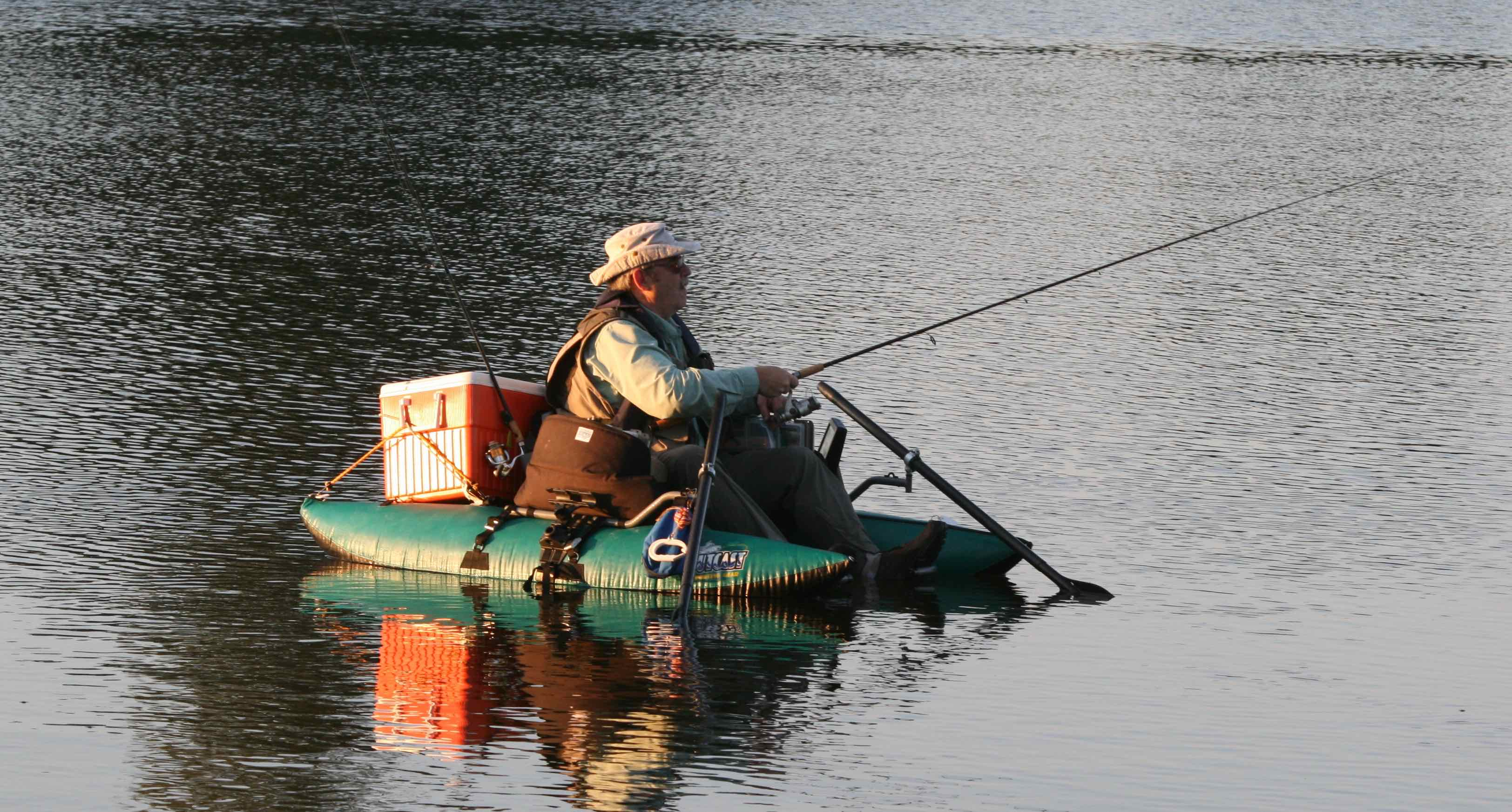 Outcast inflatable pontoon style boats the first cast for Fly fishing pontoon