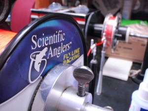 Spooling Scientific Anglers Fly Line Backing with professional Line Spooling Machine.