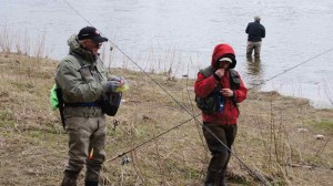 Steelhead Tournament Bob and Ethan on the Saugeen River.