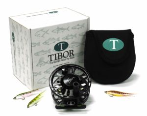 A Tibor Signature 5/6 Black Fly Reel c/w Lime Green Drag Housing.