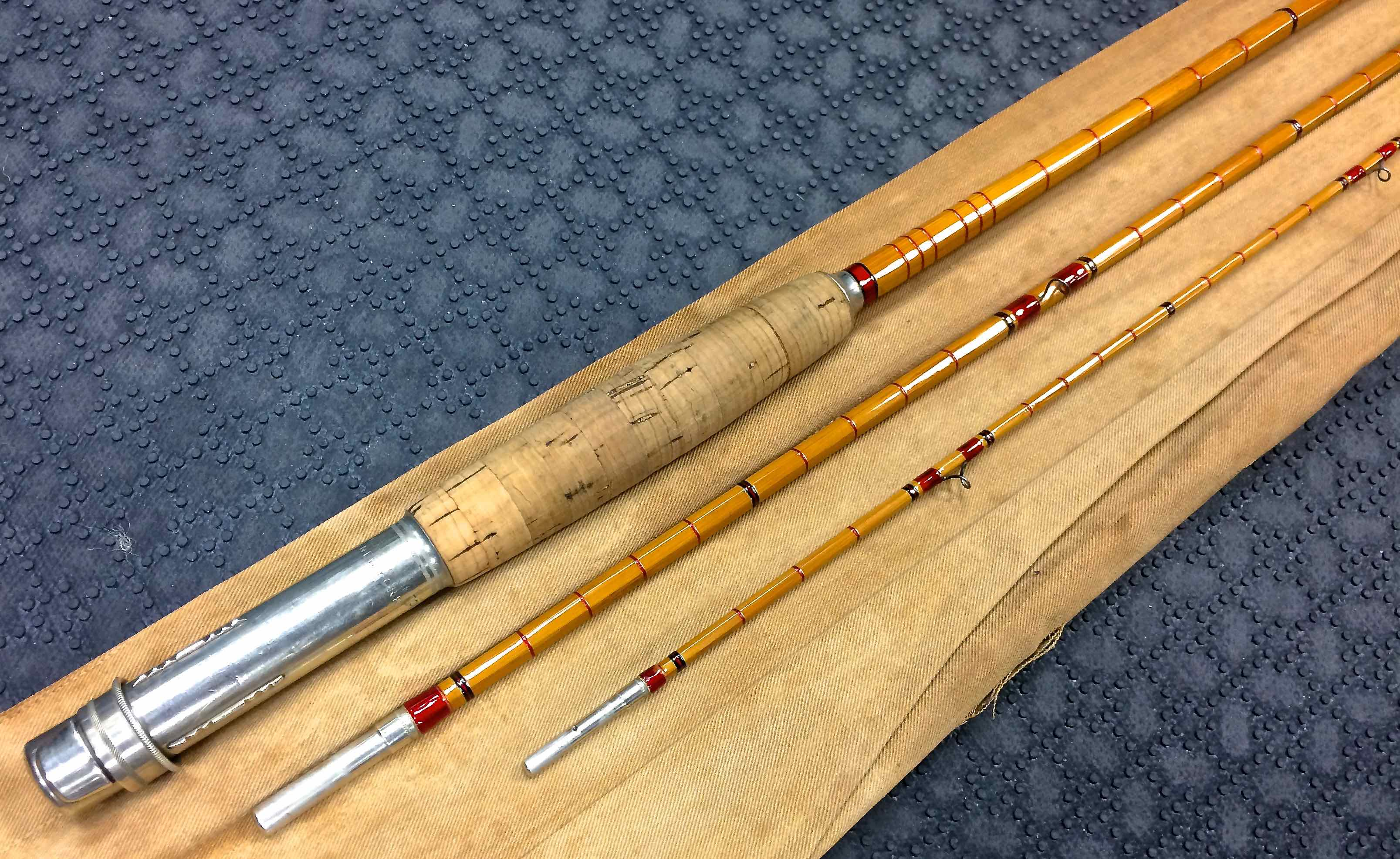 abercrombie fitch 9 67wt 3 piece bamboo fly rod great condition