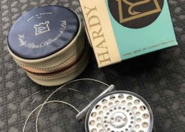Hardy Classic Lightweight Series - The Featherweight Fly Reel - Made in England c/w Zippered Vinyl Case in Original Box & Scientific Anglers WF4 Fly Line - GREAT SHAPE! - $185