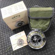 "Orvis Battenkill Large Abor VI Fly Reel - Titanium 4 1/2"" Spey Reel c/w RIO Powerflex Shooting Line & RIO AFS Scandi 520 Head - LIKE NEW! - $210"