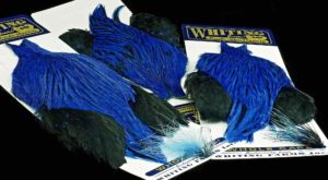 Whiting Farms Genetic American Rooster Cape - Custom Badger Dyed Kingfisher Blue