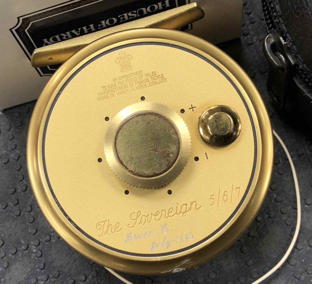 Hardy The Sovereign 5/6/7 Fly Reel Gold c/w Original Zippered Lambs Wool Lined Leather Pouch, Box & Cortland WF5F Fly Line - GREAT SHAPE! - $195