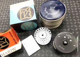 Hardy The Zenith Multiplier Fly Reel Made in England c/w Original Box ,Vinyl Zippered Case, Scientific Anglers Sharkskin WF8F Fly line & Spare Spool in Original Boxes - $EXCELLENT CONDITION! - $225