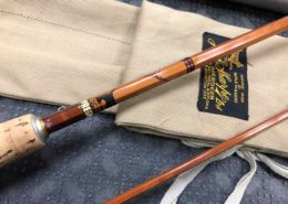 J.S. Sharpe of Aberdean Scottie Cane / Bamboo Fly Rod - The Featherweight 2pc 7' c/w Original Canvas Rod Sock & Aluminum Tube - EXCELLENT CONDITION! - $275