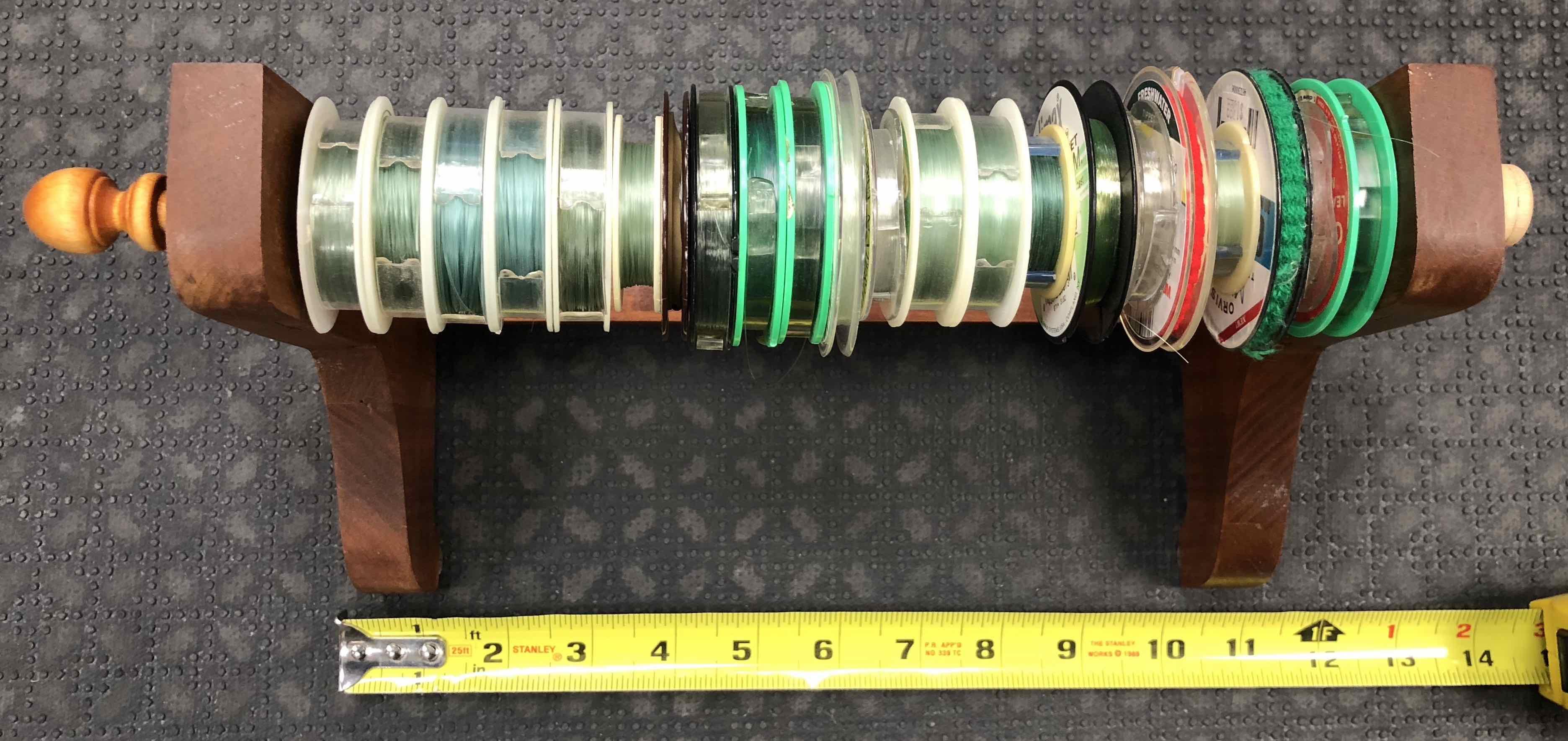 Custom Leader Tying Station c/w 22 Tippet Spools - GREAT IDEA! - $15