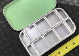 Richard Wheatley Silver Aluminum Fly Box - Model #1608F - 6 Large & 4 Small Compartments & Flat Foam Lid - GREAT CONDITION - $55