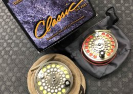 White River Classic Limited Edition Bronze Fly Reel - Size 7/8 c/w Cortland WF6F Fly Line in Lambs Wool Pouch & Spare Spool with WF6F Red Fly Line - LIKE NEW! - $200
