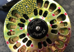 Abel Super Series 5wt Fly Reel c/w Optional Brook Trout Graphic, Pouch & Fly Line - LIKE NEW! - $450